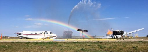 Rainbow during a fire incident